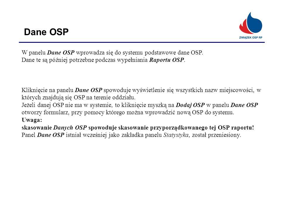 Dane OSP W panelu Dane OSP wprowadza się do systemu podstawowe dane OSP. Dane te są później potrzebne podczas wypełniania Raportu OSP.
