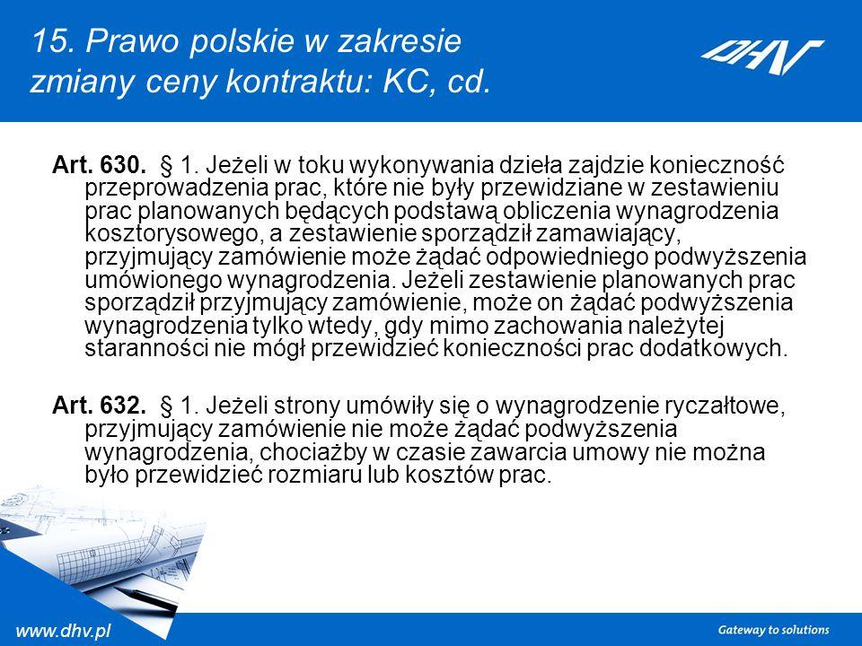 15. Prawo polskie w zakresie zmiany ceny kontraktu: KC, cd.