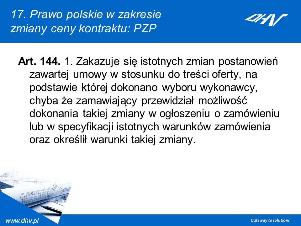 17. Prawo polskie w zakresie zmiany ceny kontraktu: PZP