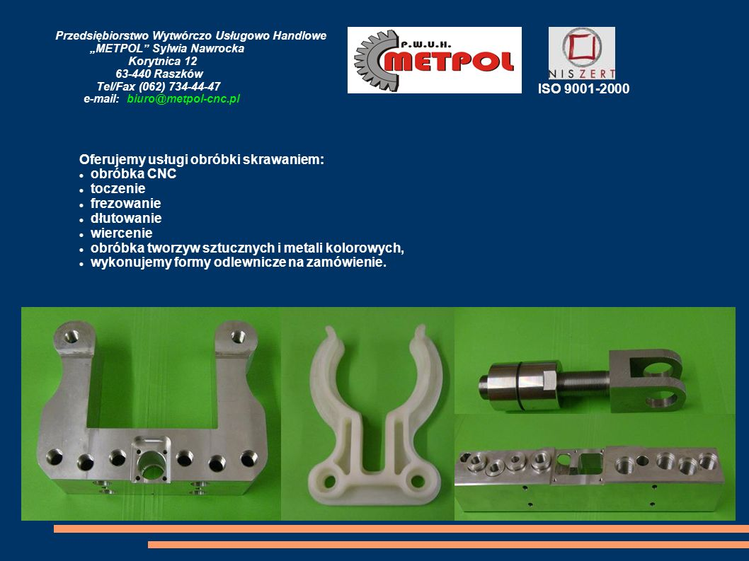 Oferujemy usługi obróbki skrawaniem: obróbka CNC toczenie frezowanie