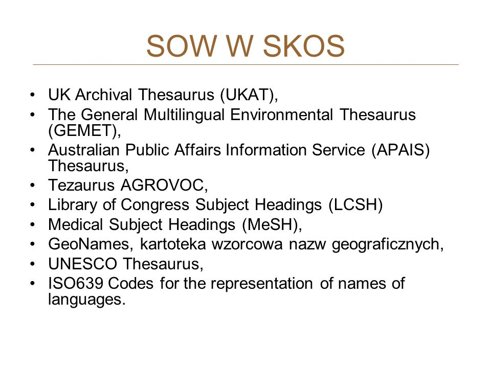 SOW W SKOS UK Archival Thesaurus (UKAT),