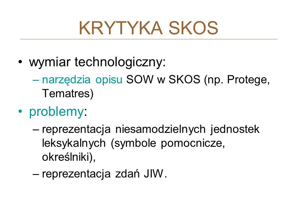 KRYTYKA SKOS wymiar technologiczny: problemy: