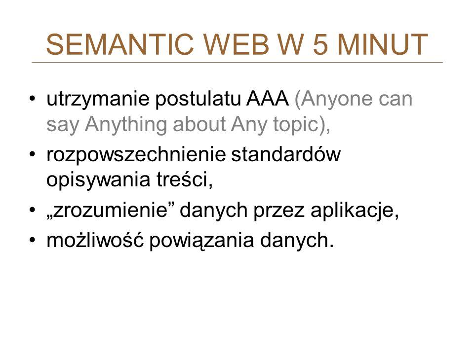 SEMANTIC WEB W 5 MINUT utrzymanie postulatu AAA (Anyone can say Anything about Any topic), rozpowszechnienie standardów opisywania treści,