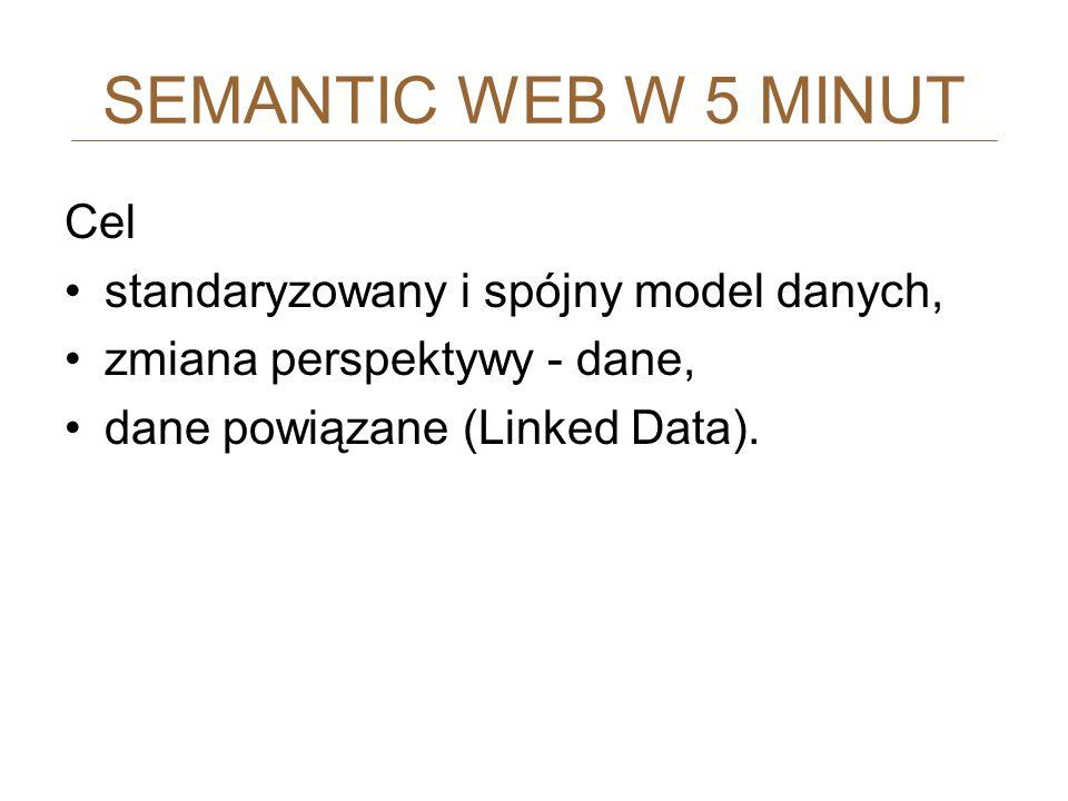SEMANTIC WEB W 5 MINUT Cel standaryzowany i spójny model danych,