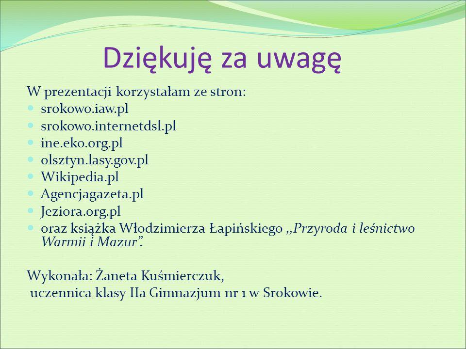 Dziękuję za uwagę W prezentacji korzystałam ze stron: srokowo.iaw.pl