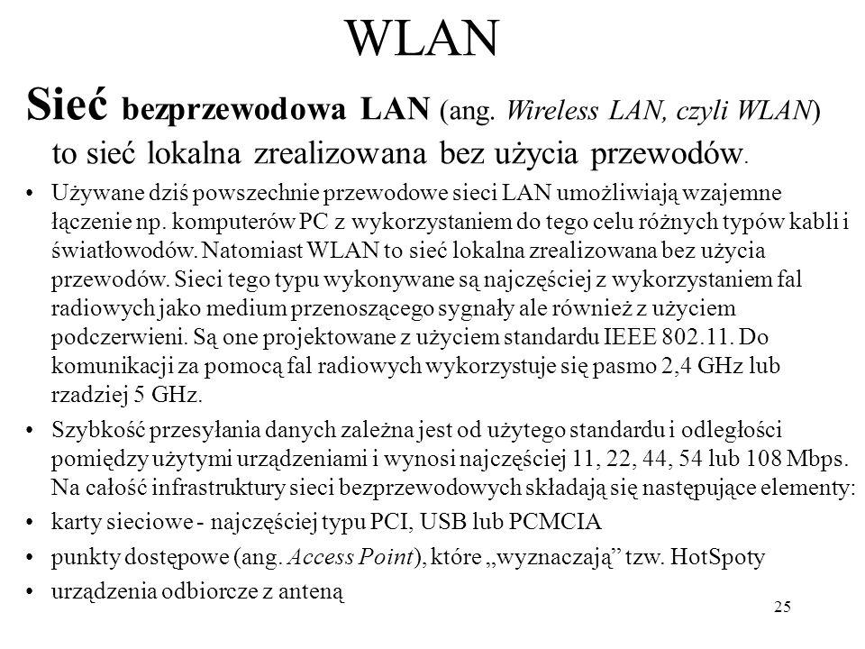 WLAN Sieć bezprzewodowa LAN (ang. Wireless LAN, czyli WLAN) to sieć lokalna zrealizowana bez użycia przewodów.