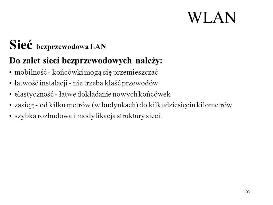 WLAN Sieć bezprzewodowa LAN Do zalet sieci bezprzewodowych należy: