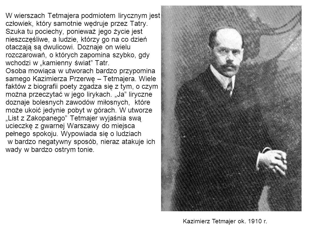 Kazimierz Tetmajer ok. 1910 r.