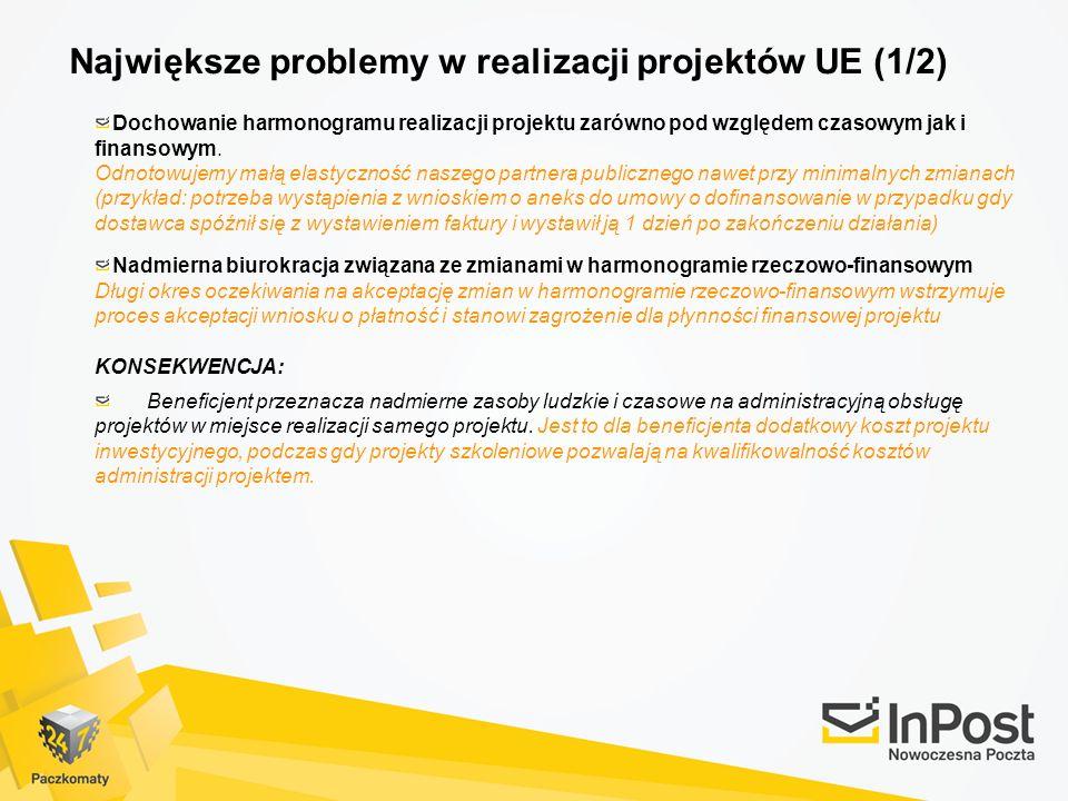 Największe problemy w realizacji projektów UE (1/2)