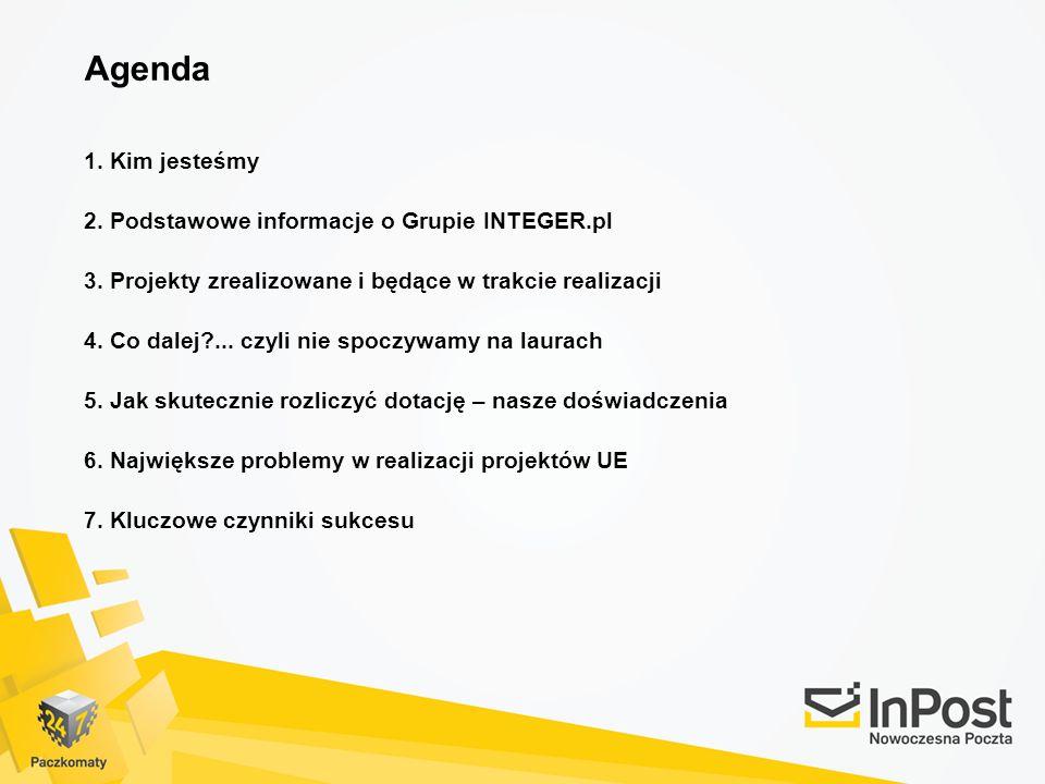 Agenda 1. Kim jesteśmy 2. Podstawowe informacje o Grupie INTEGER.pl