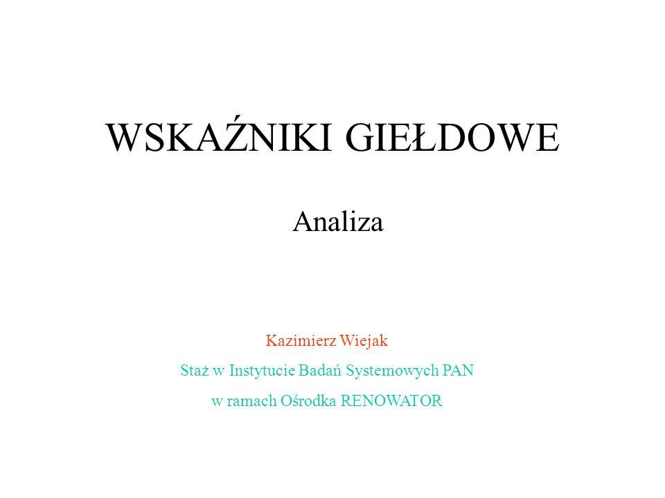 WSKAŹNIKI GIEŁDOWE Analiza Kazimierz Wiejak