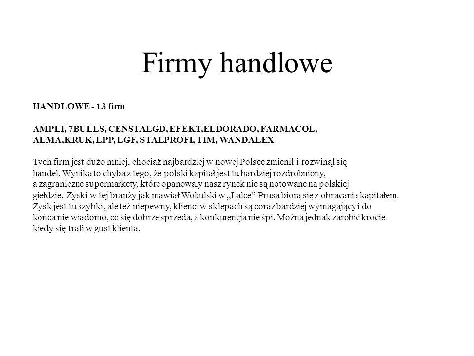 Firmy handlowe HANDLOWE - 13 firm