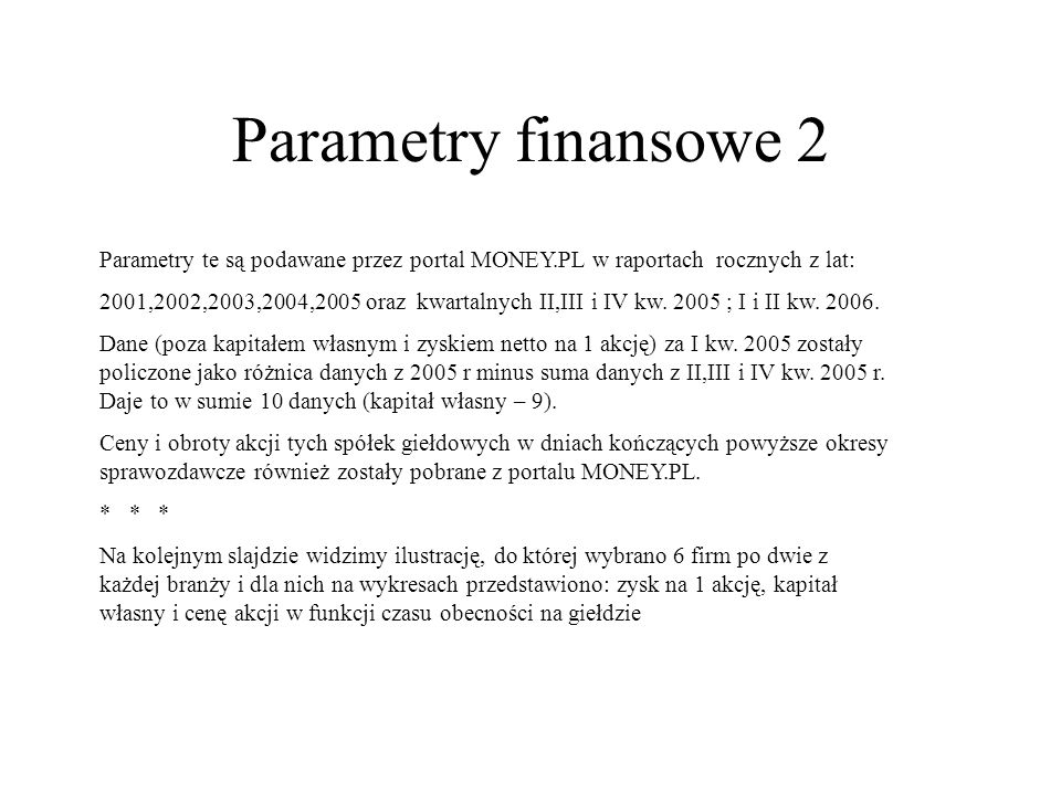 Parametry finansowe 2Parametry te są podawane przez portal MONEY.PL w raportach rocznych z lat: