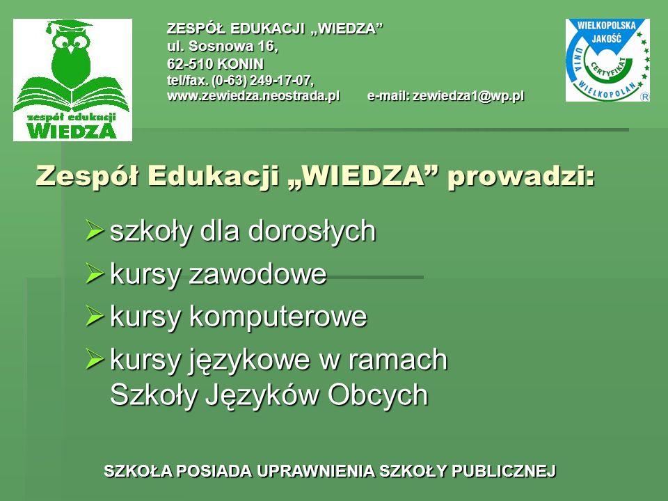 """Zespół Edukacji """"WIEDZA prowadzi:"""