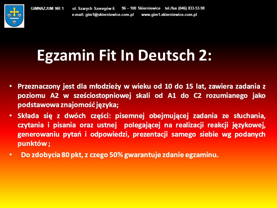 Egzamin Fit In Deutsch 2: