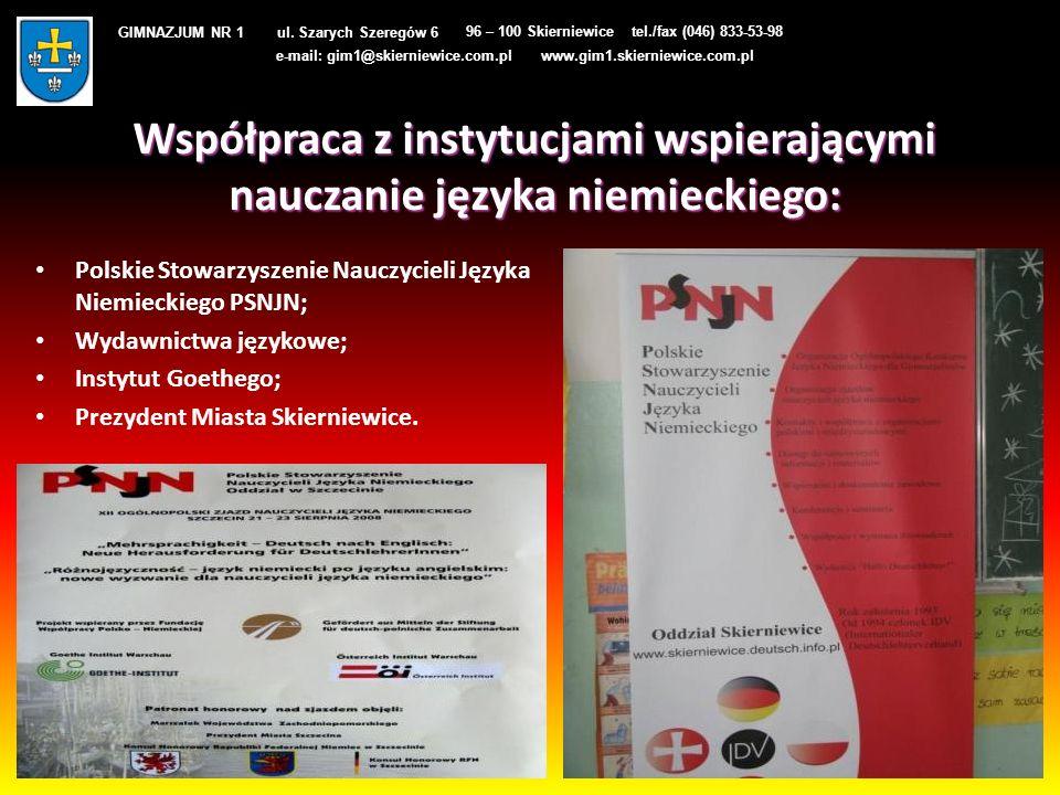 Współpraca z instytucjami wspierającymi nauczanie języka niemieckiego:
