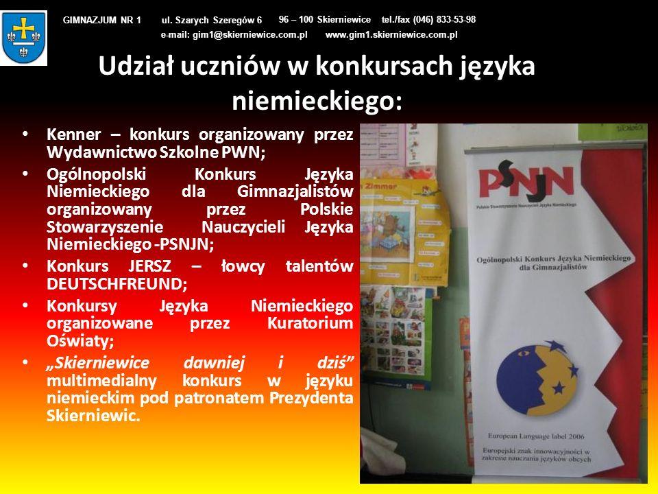 Udział uczniów w konkursach języka niemieckiego: