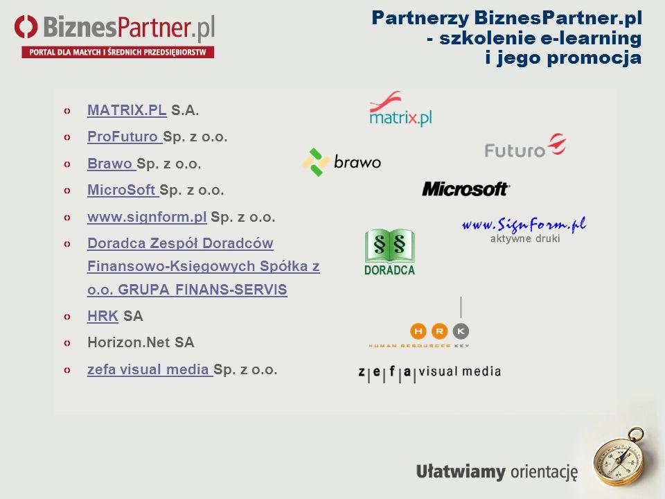 Partnerzy BiznesPartner.pl - szkolenie e-learning i jego promocja