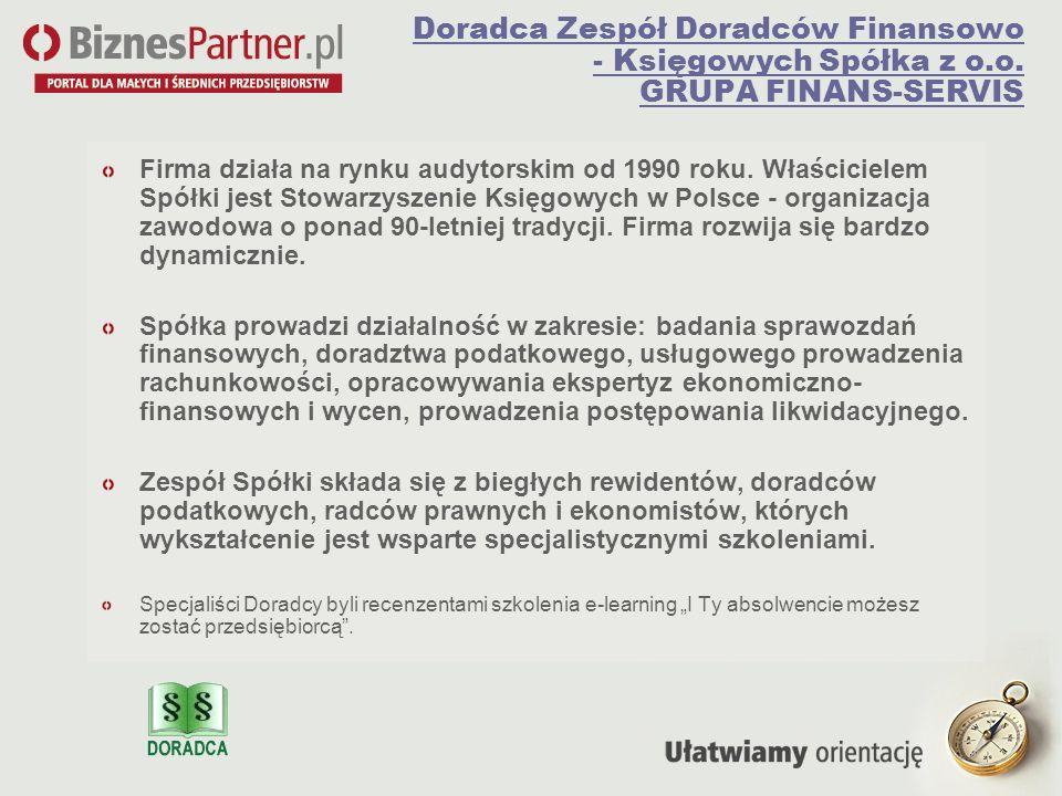 Doradca Zespół Doradców Finansowo - Księgowych Spółka z o. o