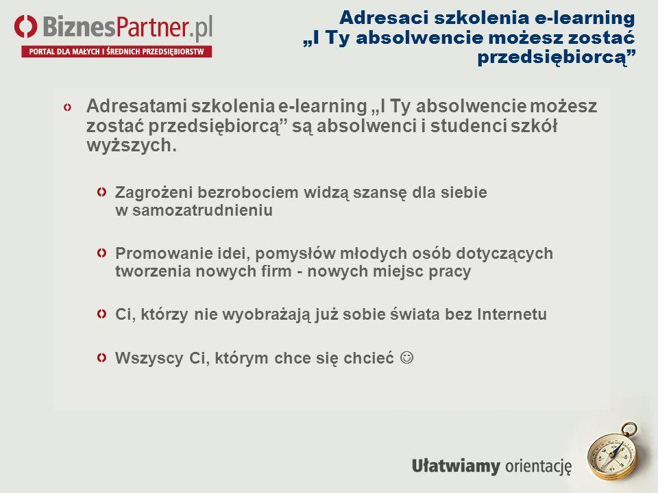 """Adresaci szkolenia e-learning """"I Ty absolwencie możesz zostać przedsiębiorcą"""