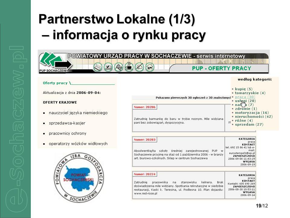 Partnerstwo Lokalne (1/3) – informacja o rynku pracy