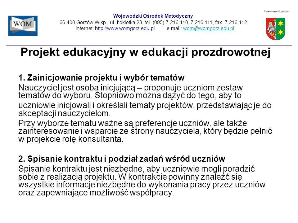 Projekt edukacyjny w edukacji prozdrowotnej