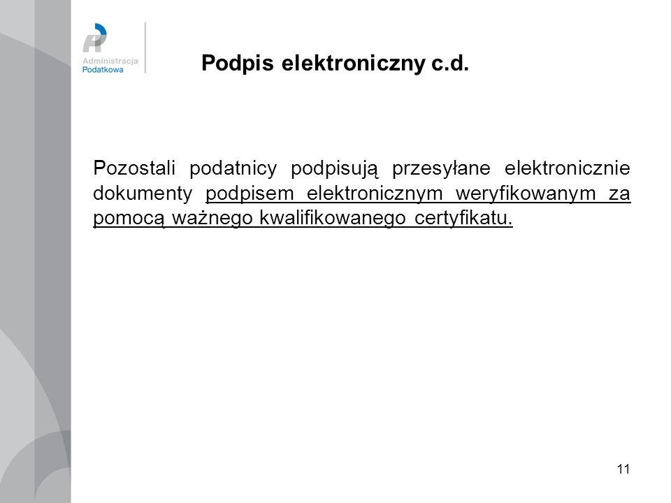 Podpis elektroniczny c.d.