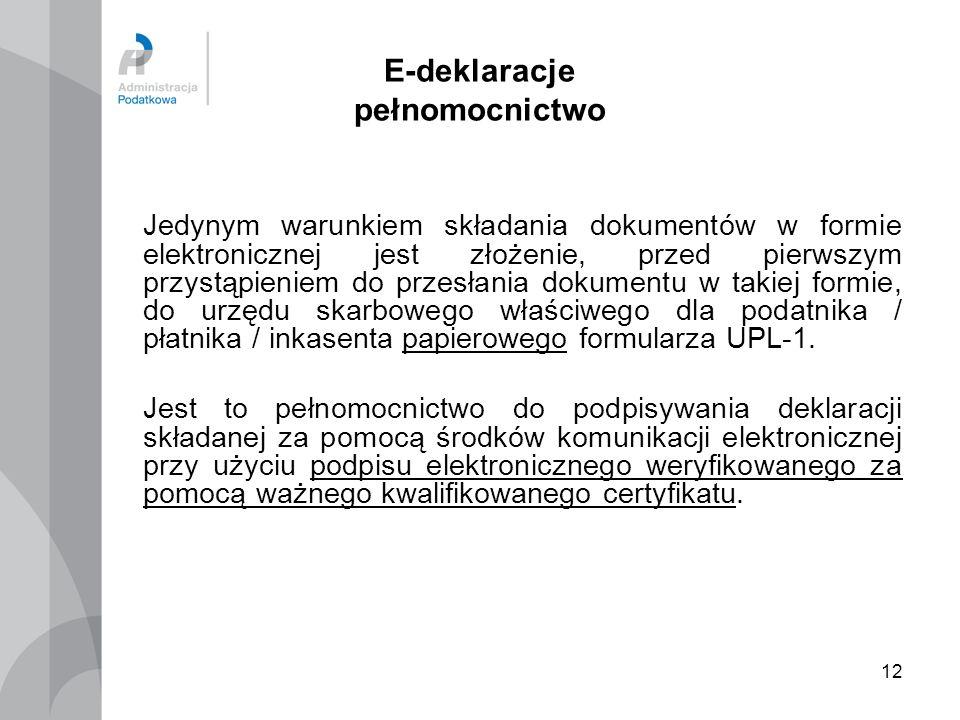 E-deklaracje pełnomocnictwo