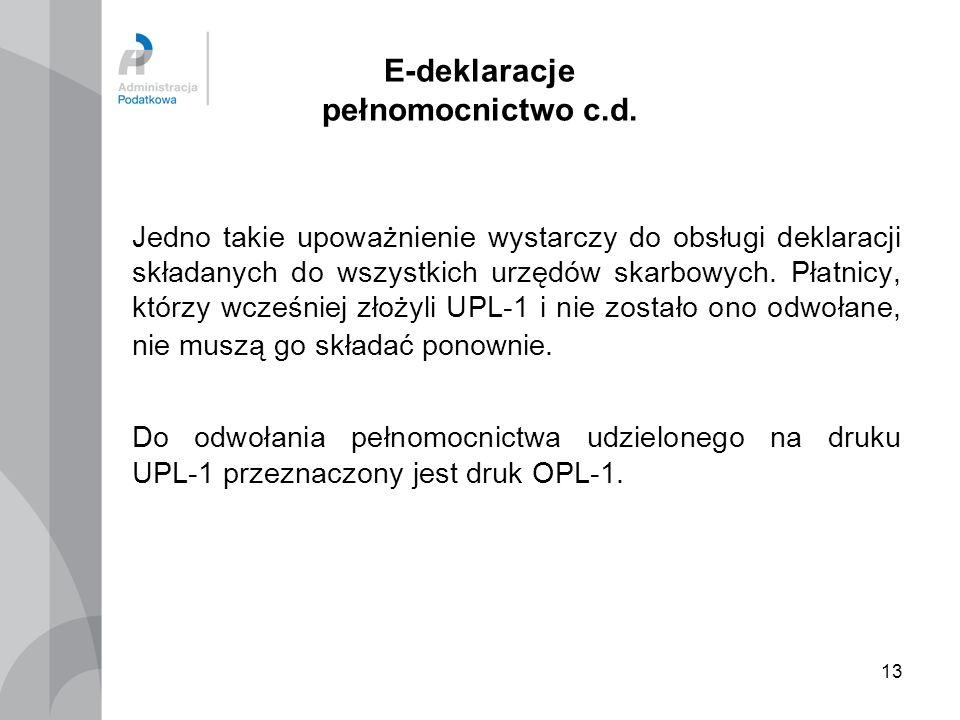 E-deklaracje pełnomocnictwo c.d.