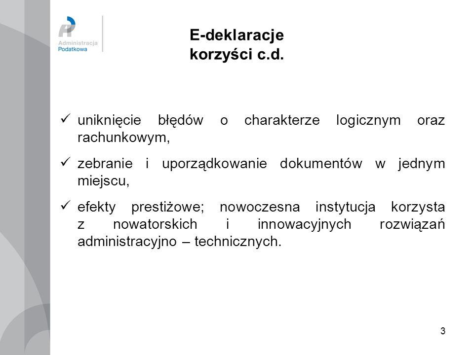 E-deklaracje korzyści c.d.