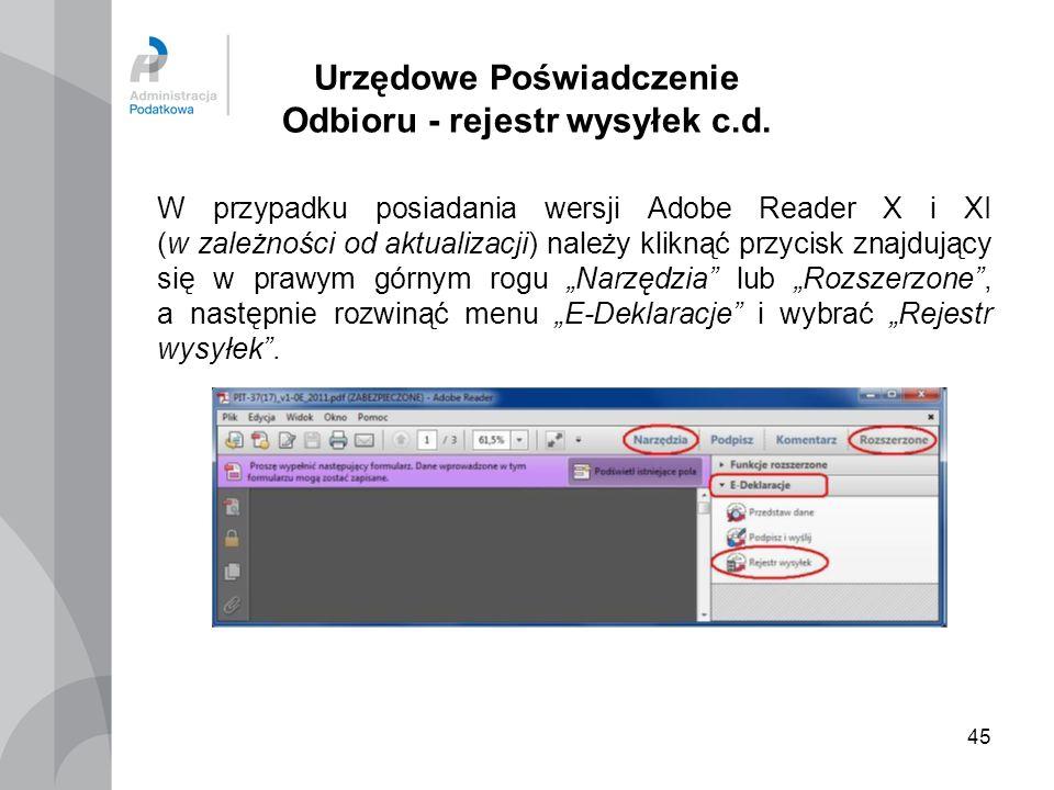 Urzędowe Poświadczenie Odbioru - rejestr wysyłek c.d.