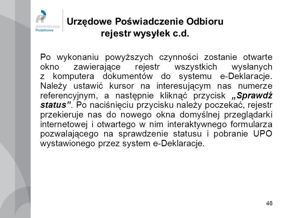 Urzędowe Poświadczenie Odbioru rejestr wysyłek c.d.
