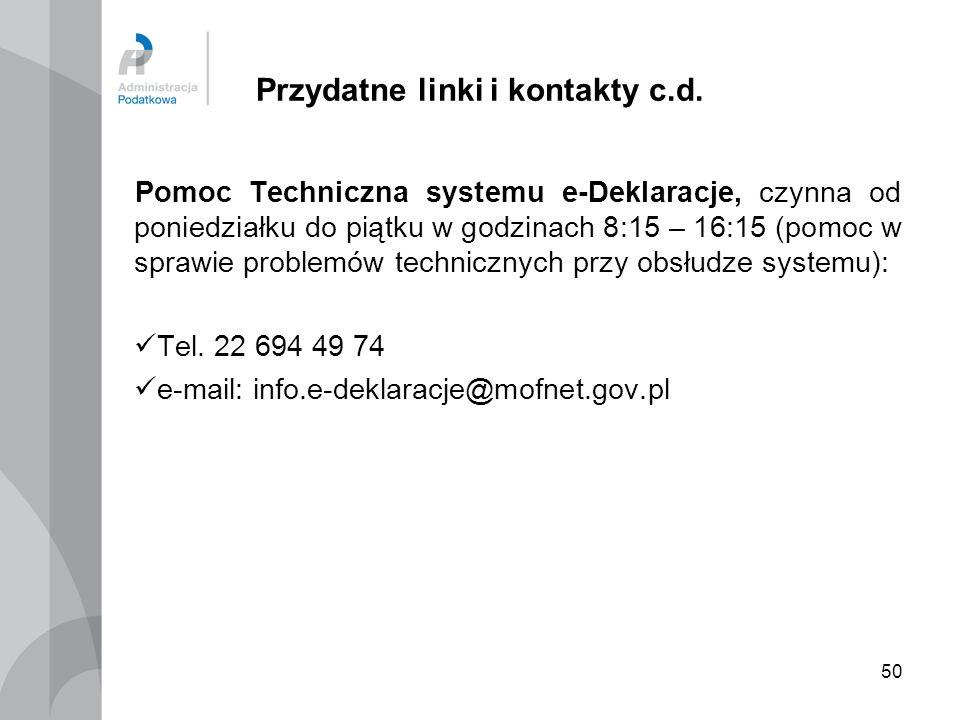Przydatne linki i kontakty c.d.