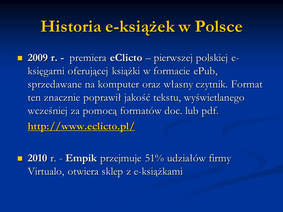Historia e-książek w Polsce