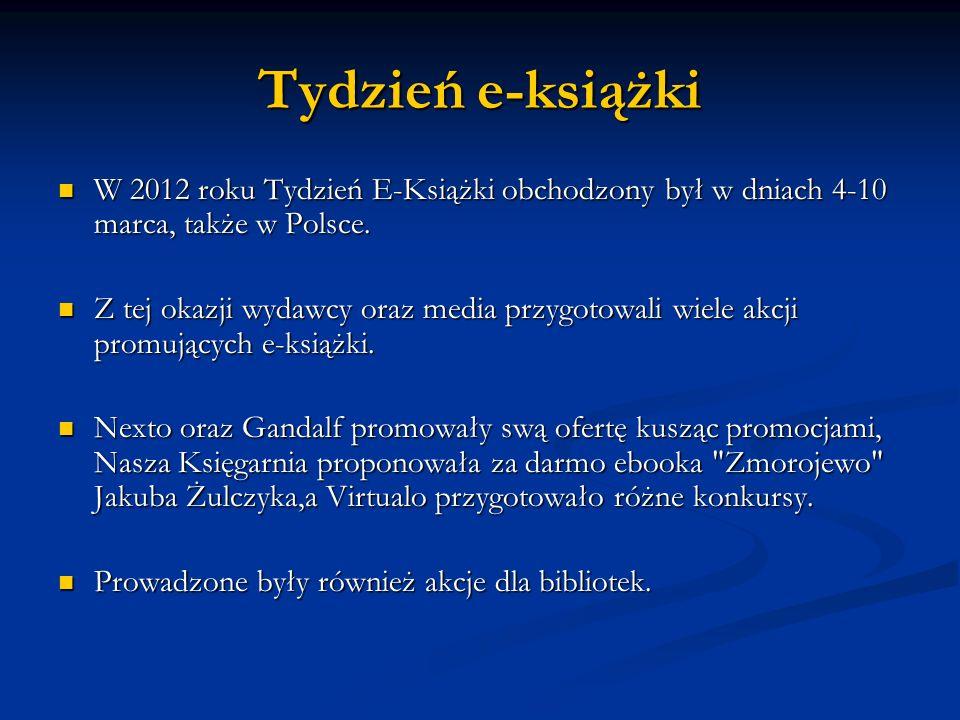 Tydzień e-książkiW 2012 roku Tydzień E-Książki obchodzony był w dniach 4-10 marca, także w Polsce.