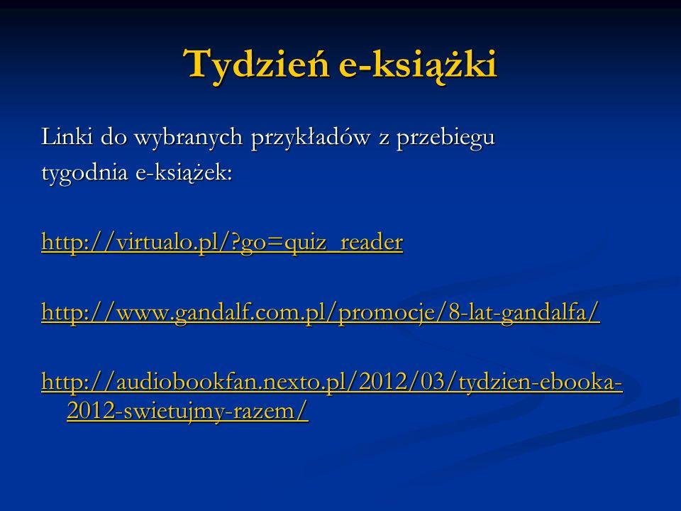 Tydzień e-książki Linki do wybranych przykładów z przebiegu