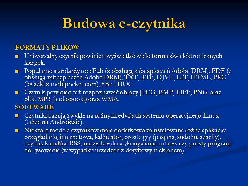 Budowa e-czytnika FORMATY PLIKÓW