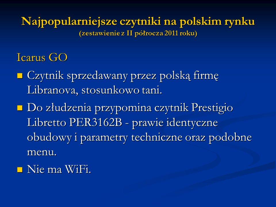 Najpopularniejsze czytniki na polskim rynku (zestawienie z II półrocza 2011 roku)