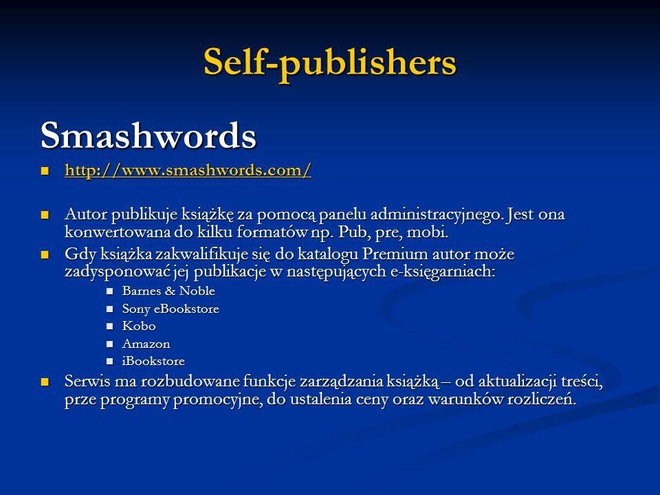 Self-publishers Smashwords http://www.smashwords.com/