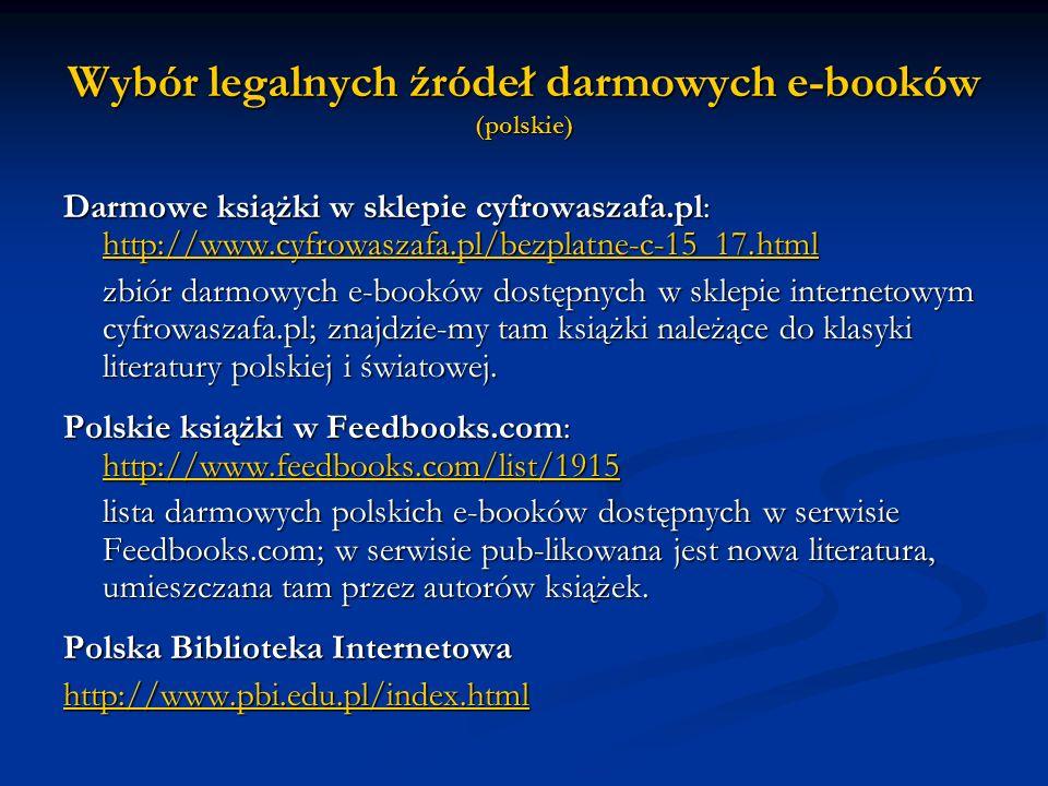 Wybór legalnych źródeł darmowych e-booków (polskie)