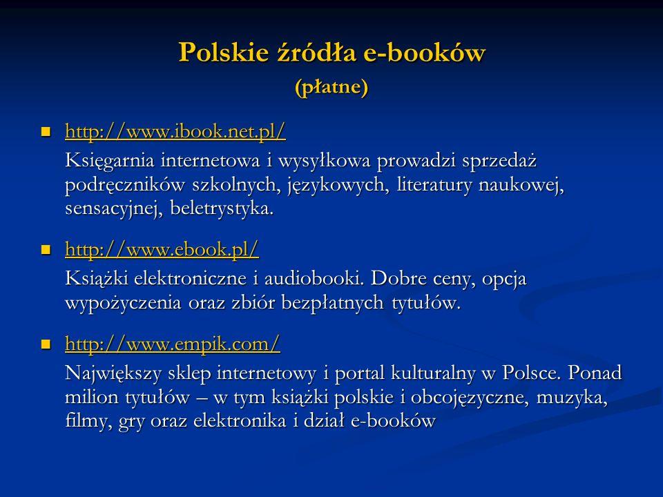 Polskie źródła e-booków (płatne)