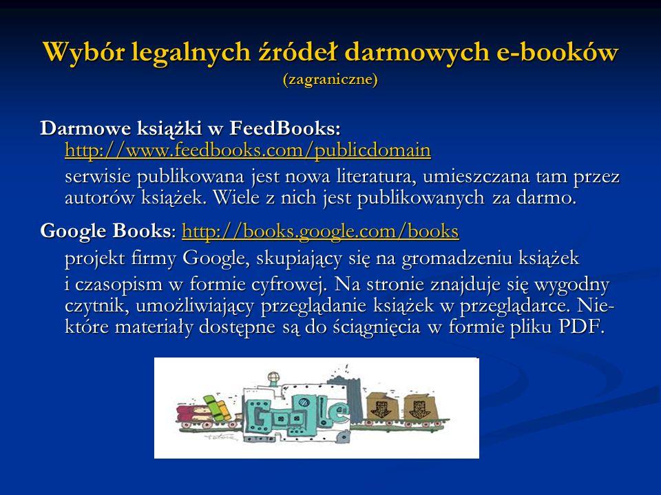 Wybór legalnych źródeł darmowych e-booków (zagraniczne)