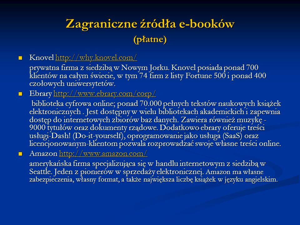 Zagraniczne źródła e-booków (płatne)
