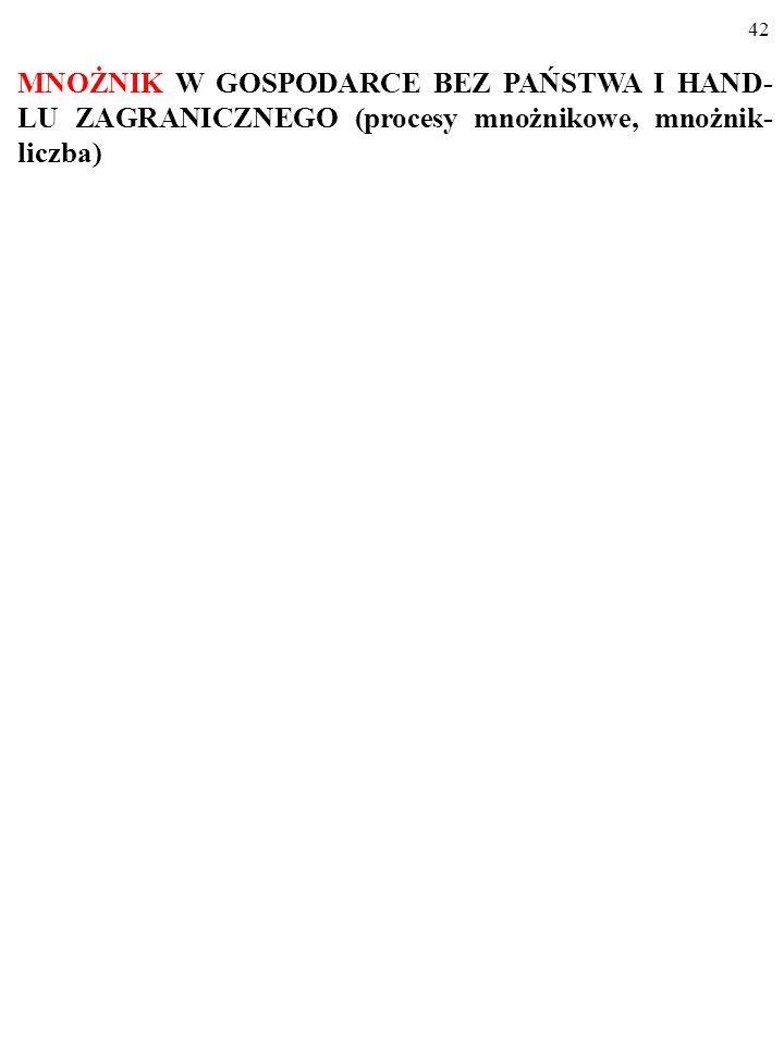MNOŻNIK W GOSPODARCE BEZ PAŃSTWA I HAND-LU ZAGRANICZNEGO (procesy mnożnikowe, mnożnik-liczba)
