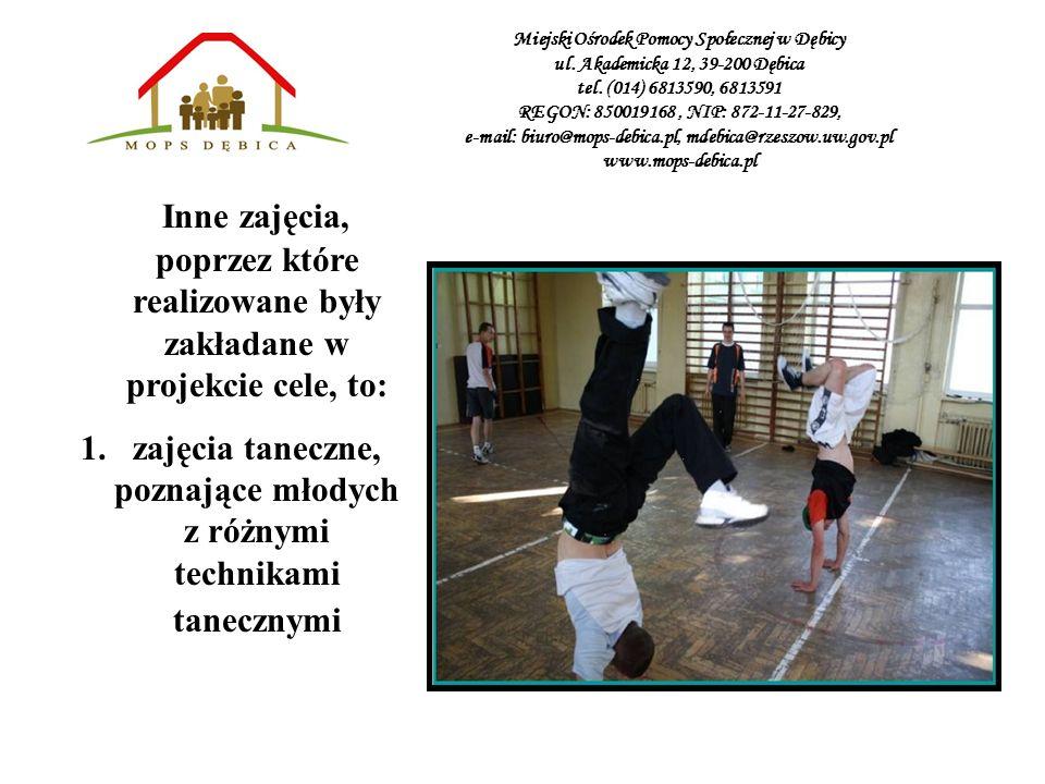 zajęcia taneczne, poznające młodych z różnymi technikami tanecznymi