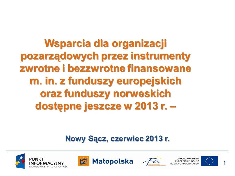 Wsparcia dla organizacji pozarządowych przez instrumenty zwrotne i bezzwrotne finansowane m. in. z funduszy europejskich oraz funduszy norweskich dostępne jeszcze w 2013 r. –