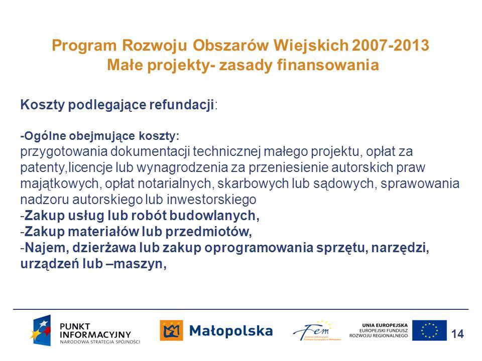 Program Rozwoju Obszarów Wiejskich 2007-2013 Małe projekty- zasady finansowania