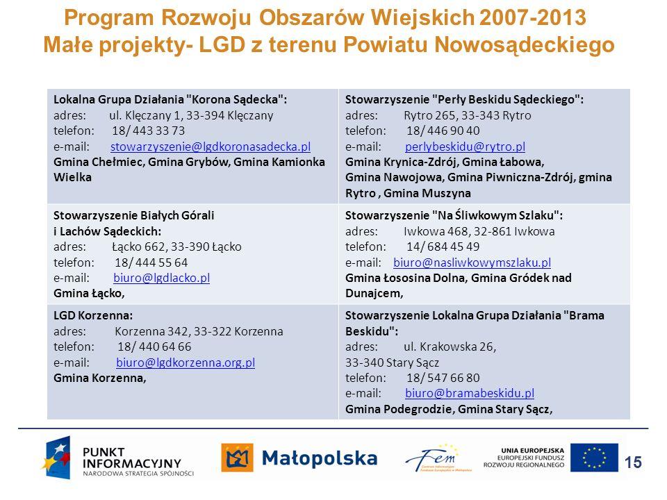 Program Rozwoju Obszarów Wiejskich 2007-2013 Małe projekty- LGD z terenu Powiatu Nowosądeckiego