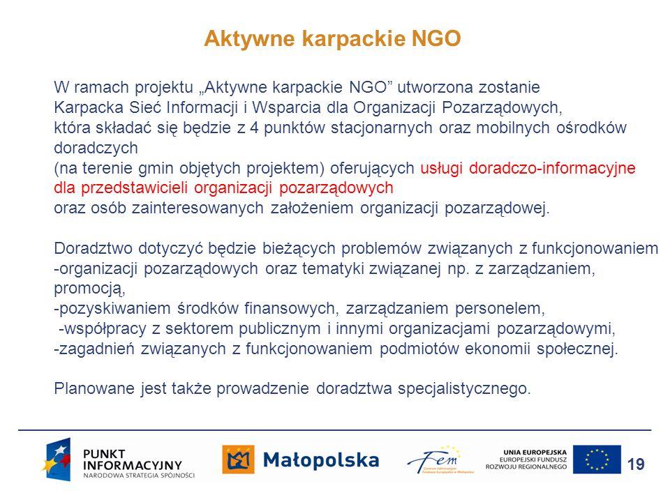 """Aktywne karpackie NGO W ramach projektu """"Aktywne karpackie NGO utworzona zostanie."""