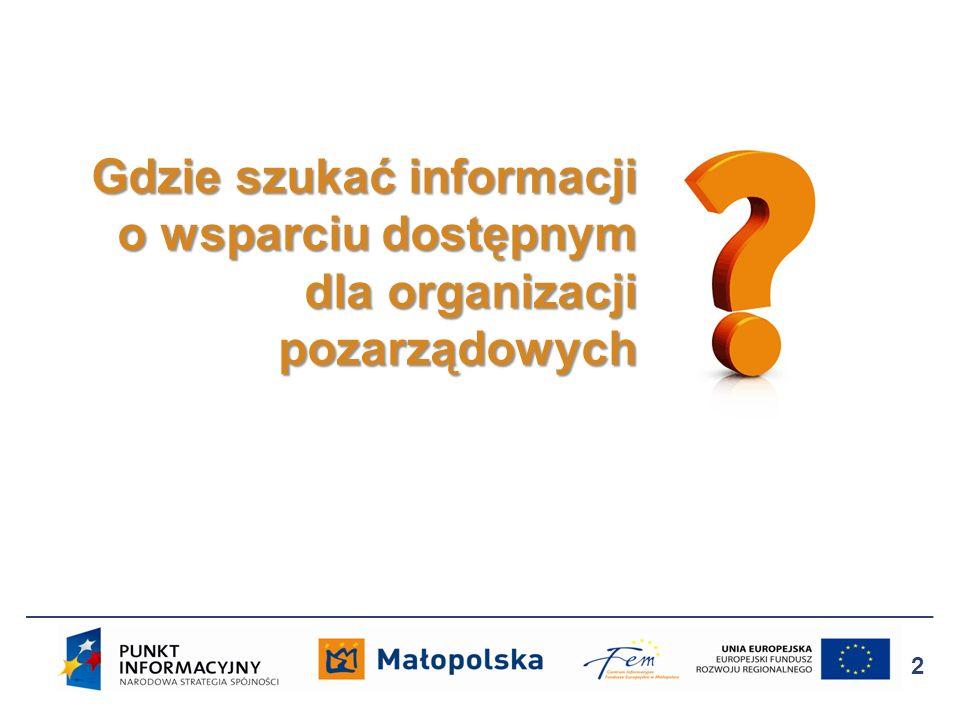 Gdzie szukać informacji o wsparciu dostępnym dla organizacji pozarządowych